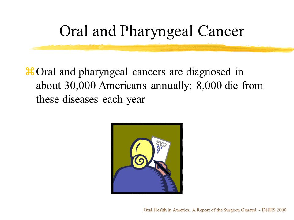 zOral and pharyngeal cancers are diagnosed in about 30,000 Americans annually; 8,000 die from these diseases each year Oral and Pharyngeal Cancer Oral Health in America: A Report of the Surgeon General ~ DHHS 2000