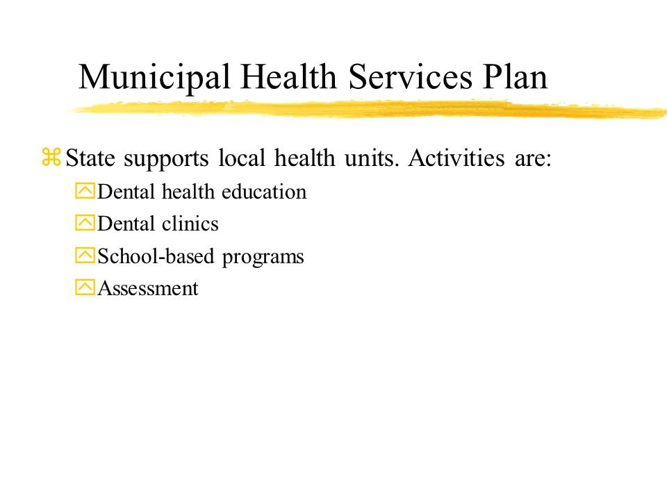 Municipal Health Services Plan zState supports local health units.