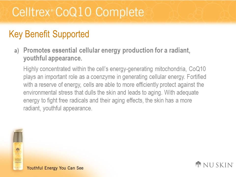 Key Benefit Supported a) Promotes essential cellular energy production for a radiant, youthful appearance.