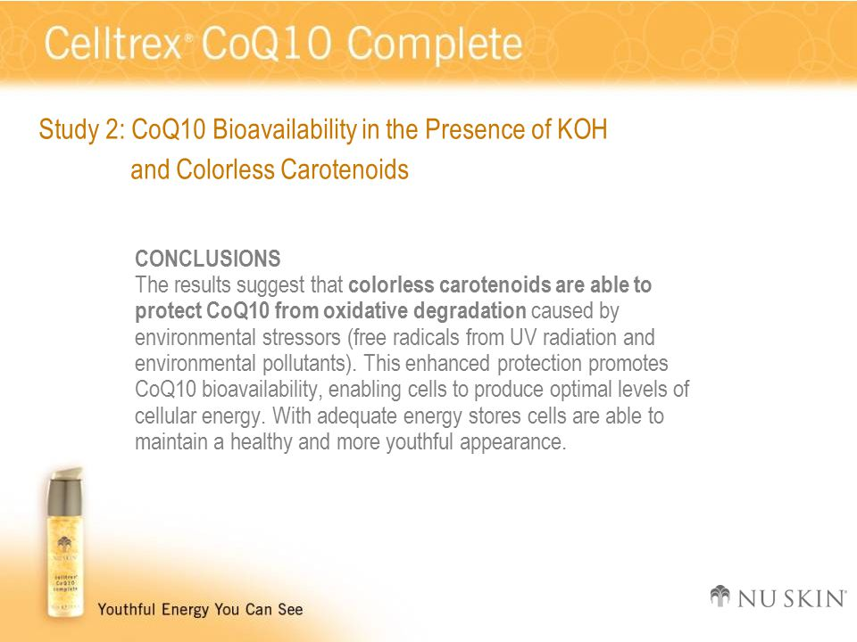 CONCLUSIONS The results suggest that colorless carotenoids are able to protect CoQ10 from oxidative degradation caused by environmental stressors (free radicals from UV radiation and environmental pollutants).