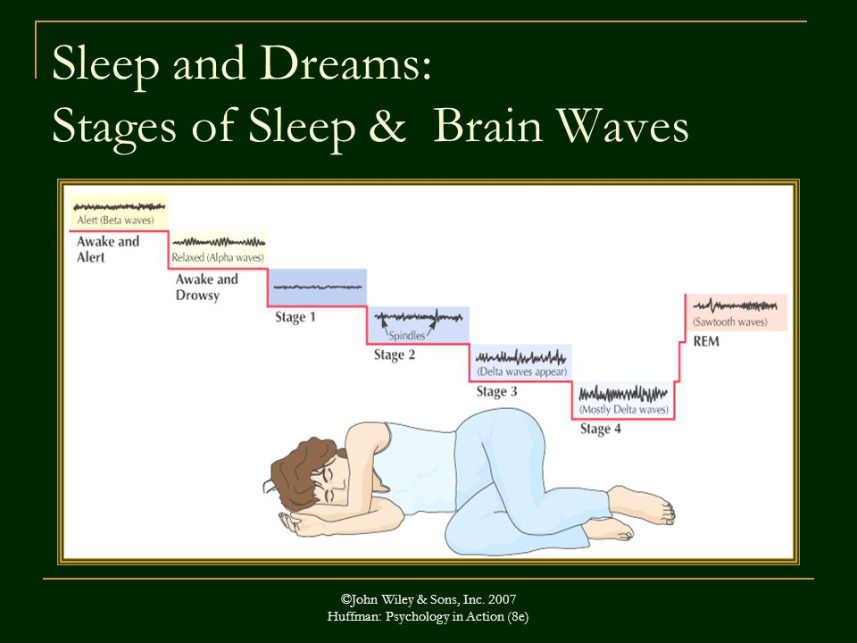 ©John Wiley & Sons, Inc. 2007 Huffman: Psychology in Action (8e) Sleep and Dreams: Stages of Sleep & Brain Waves