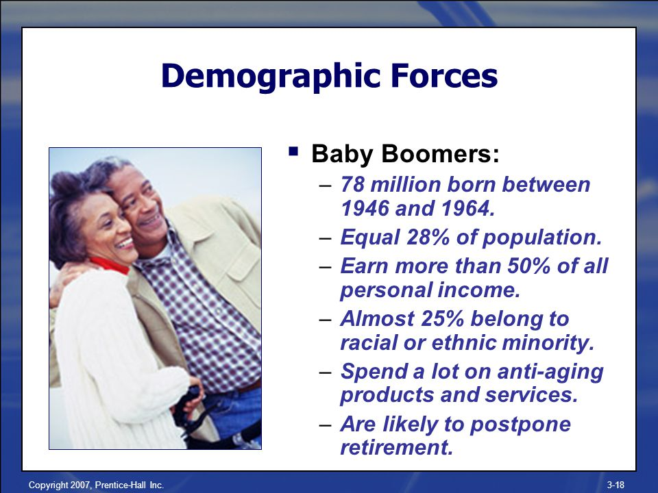Copyright 2007, Prentice-Hall Inc.3-18 Demographic Forces  Baby Boomers: –78 million born between 1946 and 1964.