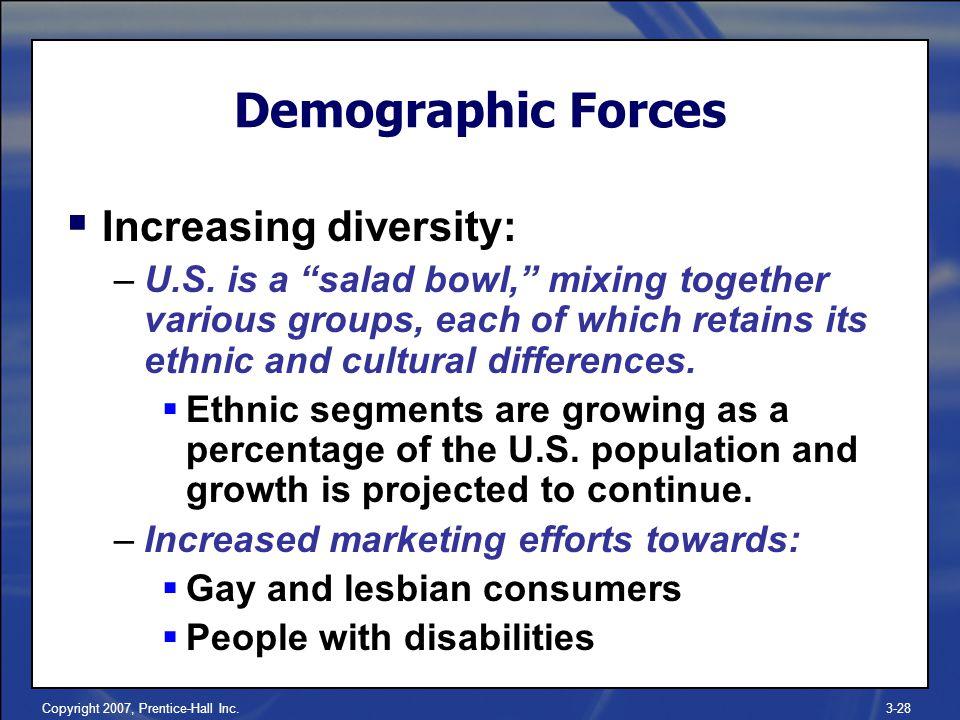 Copyright 2007, Prentice-Hall Inc.3-28  Increasing diversity: –U.S.