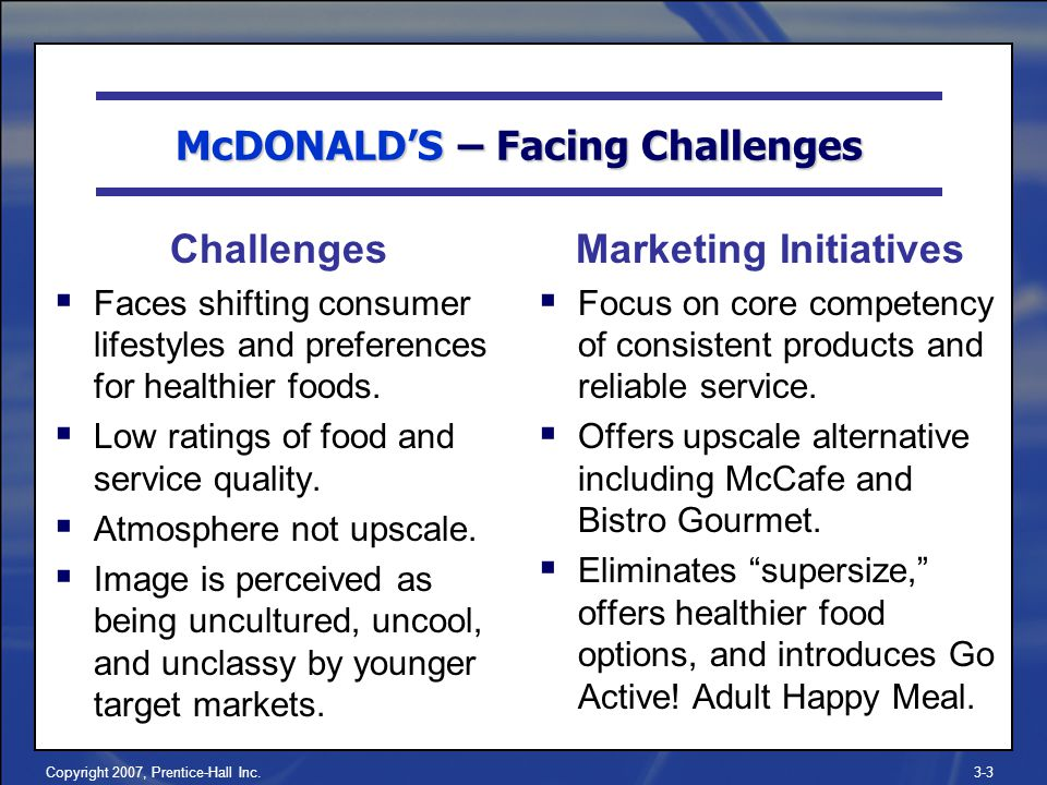 Copyright 2007, Prentice-Hall Inc.3-3 Challenges  Faces shifting consumer lifestyles and preferences for healthier foods.