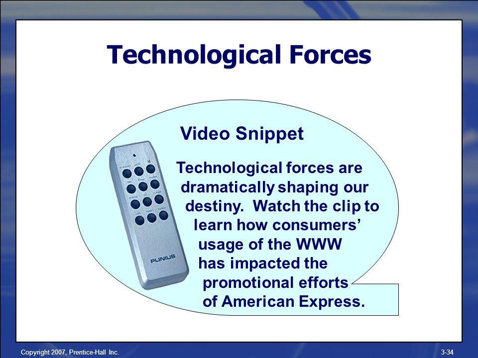 Copyright 2007, Prentice-Hall Inc.3-34 Technological Forces Technological forces are dramatically shaping our destiny.