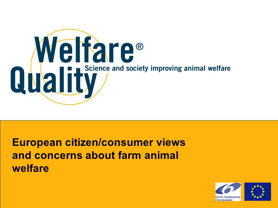 European citizen/consumer views and concerns about farm animal welfare