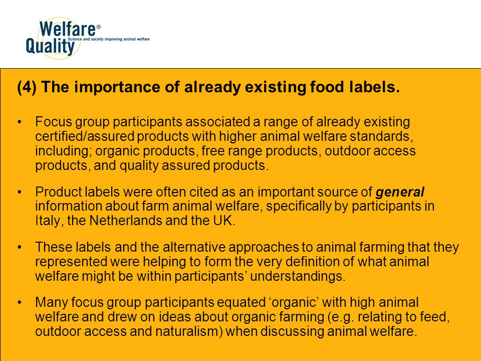 (4) The importance of already existing food labels.