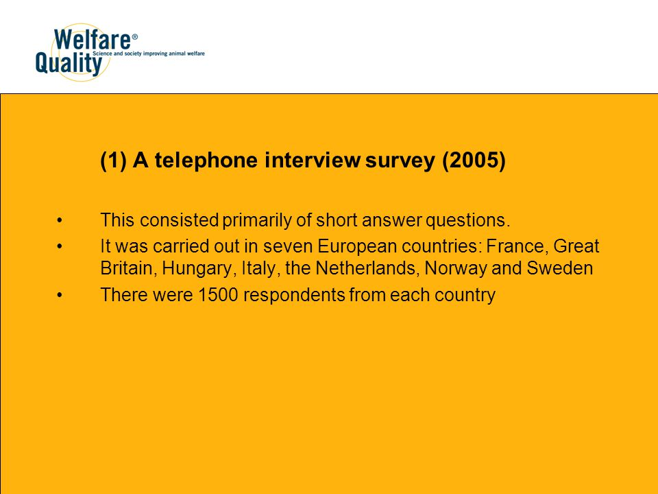 (1) A telephone interview survey (2005) This consisted primarily of short answer questions.