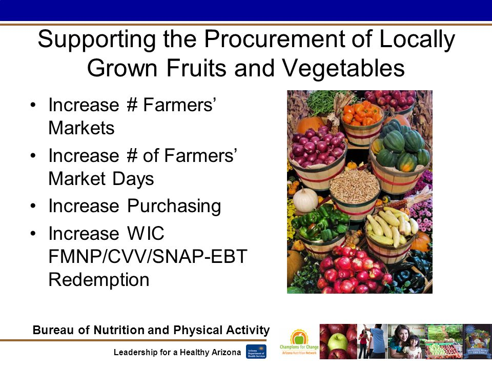 Bureau of Nutrition and Physical Activity Leadership for a Healthy Arizona Supporting the Procurement of Locally Grown Fruits and Vegetables Increase # Farmers' Markets Increase # of Farmers' Market Days Increase Purchasing Increase WIC FMNP/CVV/SNAP-EBT Redemption