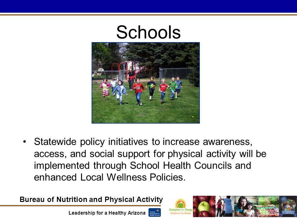 Bureau of Nutrition and Physical Activity Leadership for a Healthy Arizona Schools Statewide policy initiatives to increase awareness, access, and social support for physical activity will be implemented through School Health Councils and enhanced Local Wellness Policies.