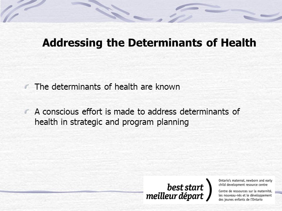 Addressing the Determinants of Health The determinants of health are known A conscious effort is made to address determinants of health in strategic and program planning