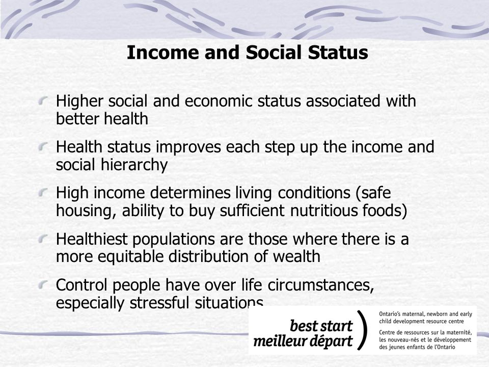 Social Support Networks Support from families, friends and communities is associated with better health Social support important in helping people solve problems and deal with adversity Caring and respect that occurs in social relationships, and the resulting sense of satisfaction and well-being, seem to act as a buffer against health problems