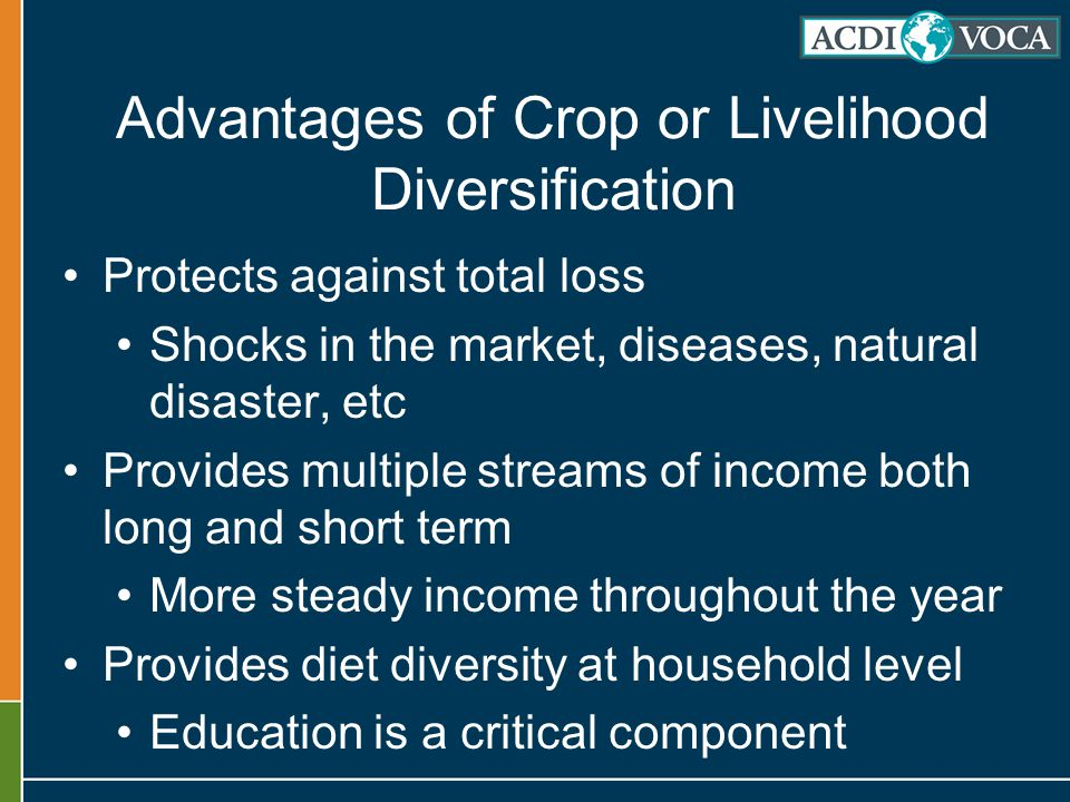 Advantages of Crop or Livelihood Diversification Protects against total loss Shocks in the market, diseases, natural disaster, etc Provides multiple streams of income both long and short term More steady income throughout the year Provides diet diversity at household level Education is a critical component