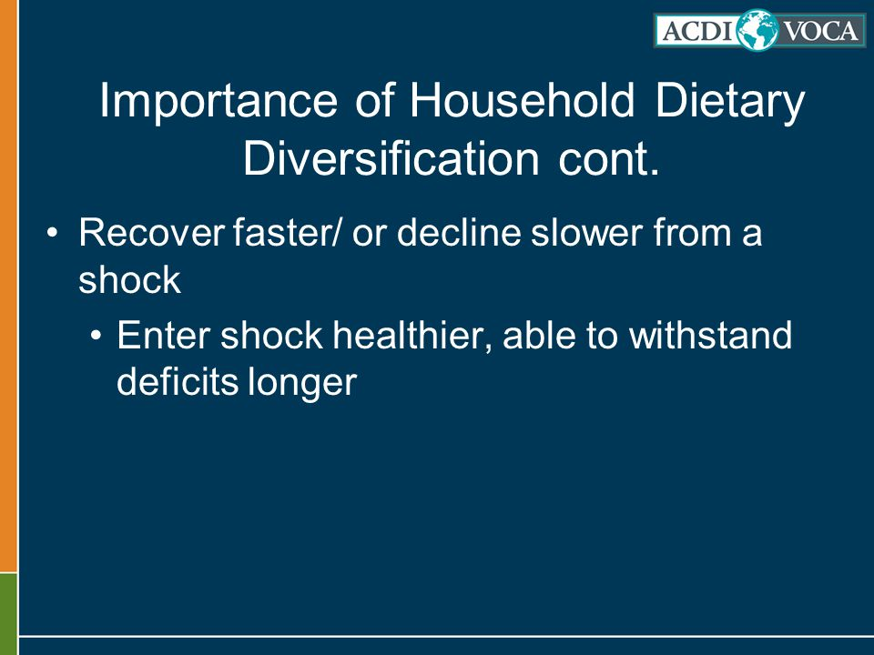 Importance of Household Dietary Diversification cont.