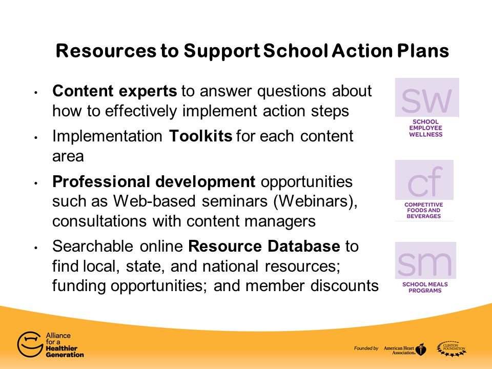 Resources to Support School Action Plans Content experts to answer questions about how to effectively implement action steps Implementation Toolkits f
