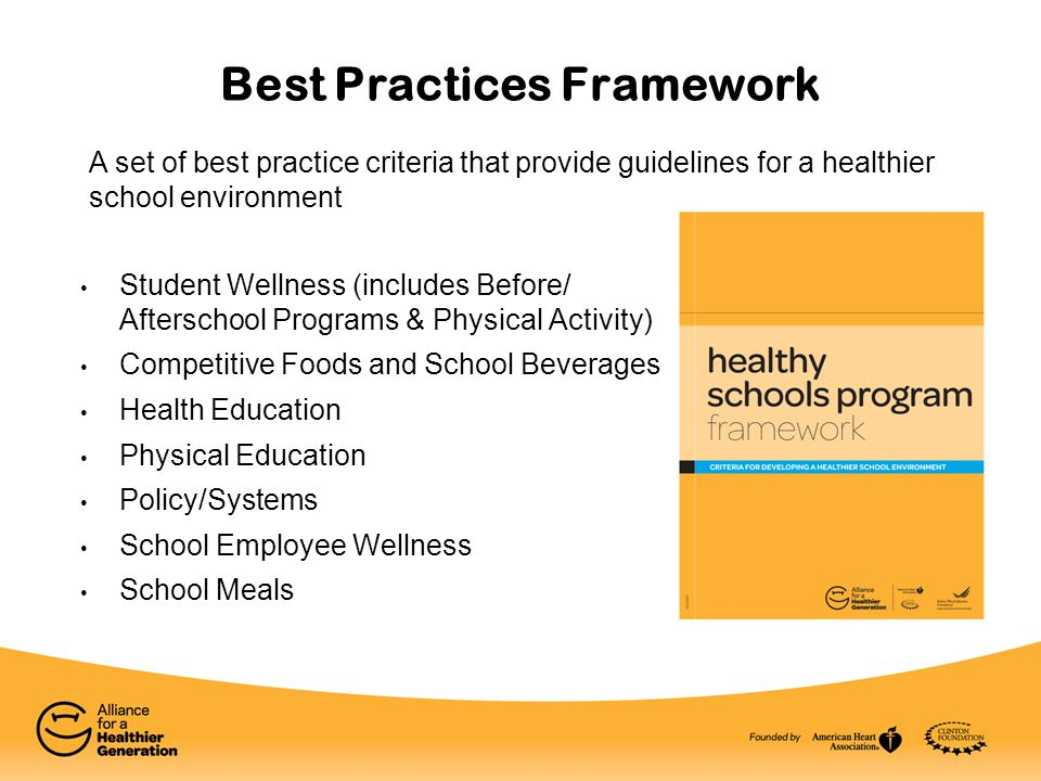 Best Practices Framework Student Wellness (includes Before/ Afterschool Programs & Physical Activity) Competitive Foods and School Beverages Health Ed