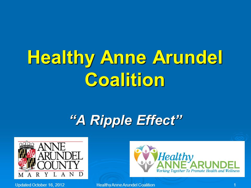 Healthy Anne Arundel Coalition VISION Healthy County, Healthy People.