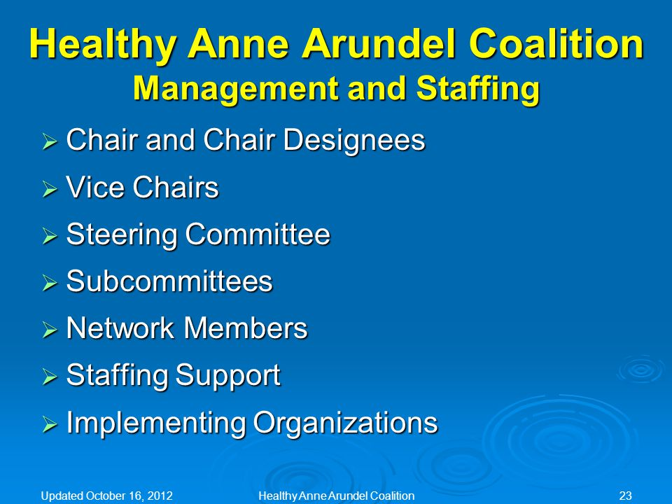 Healthy Anne Arundel Coalition Management and Staffing  Chair and Chair Designees  Vice Chairs  Steering Committee  Subcommittees  Network Member