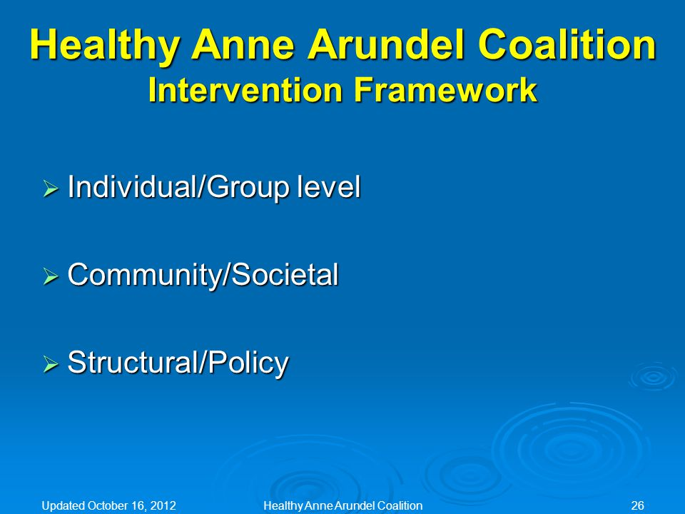 Healthy Anne Arundel Coalition Intervention Framework  Individual/Group level  Community/Societal  Structural/Policy Updated October 16, 2012Healthy Anne Arundel Coalition26