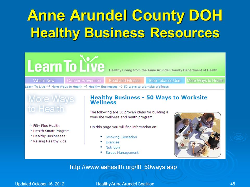 http://www.aahealth.org/ltl_50ways.asp Anne Arundel County DOH Healthy Business Resources Updated October 16, 2012Healthy Anne Arundel Coalition45