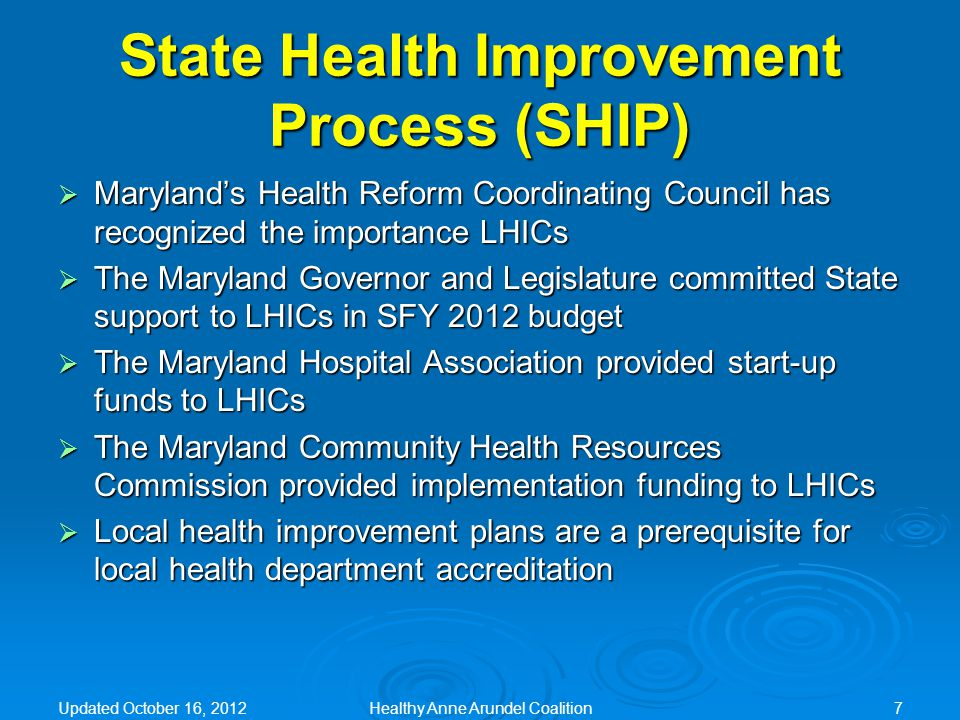 Healthy Anne Arundel Coalition Measures of Success  Decreased prevalence of: overweight, obesity and other related chronic health conditions (e.g.