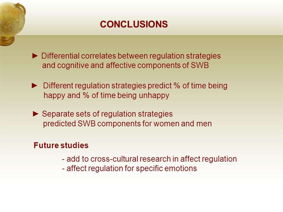 CONCLUSIONS Future studies - add to cross-cultural research in affect regulation - affect regulation for specific emotions ► Different regulation strategies predict % of time being happy and % of time being unhappy ► Separate sets of regulation strategies predicted SWB components for women and men ► Differential correlates between regulation strategies and cognitive and affective components of SWB