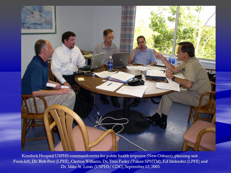 Post-Katrina Long Term Planning: Framework for Healthier Greater New Orleans Purposes of the Framework  NOT a detailed plan, and NOT a comprehensive plan  Identify priority areas for improvements in the design of the health system  Describe principles that health-related agencies should follow in rebuilding  Framework utilized by the Bring Back New Orleans Commission and the Louisiana Recovery Authority for long term health systems planning