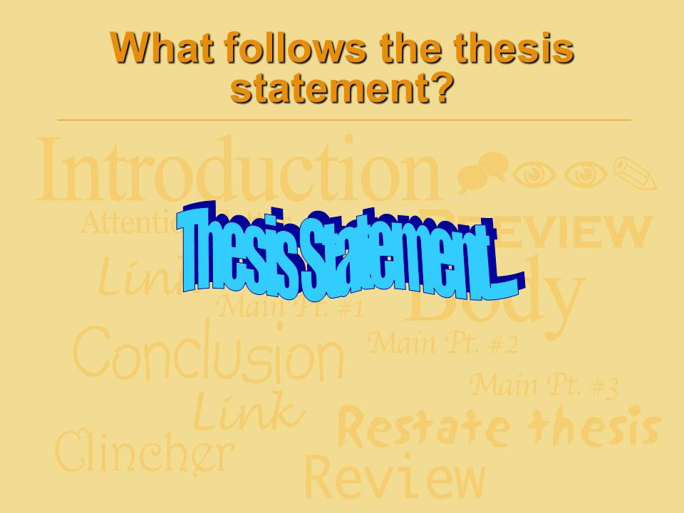 What follows the thesis statement?