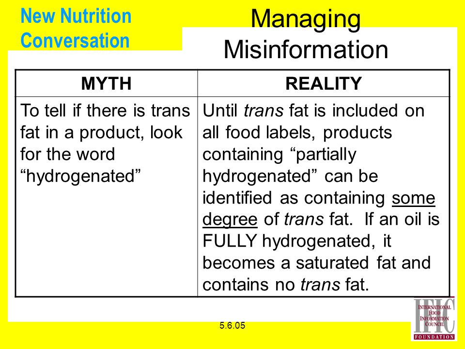 5.6.05 New Nutrition Conversation Managing Misinformation MYTHREALITY To tell if there is trans fat in a product, look for the word hydrogenated Until trans fat is included on all food labels, products containing partially hydrogenated can be identified as containing some degree of trans fat.