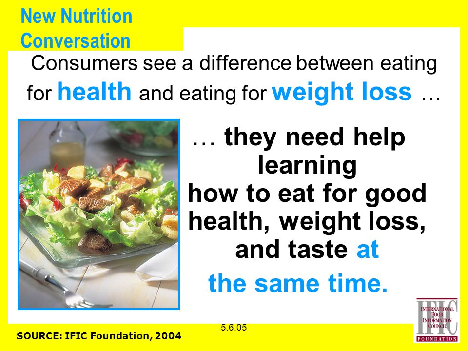 5.6.05 New Nutrition Conversation Consumers see a difference between eating for health and eating for weight loss … … they need help learning how to eat for good health, weight loss, and taste at the same time.