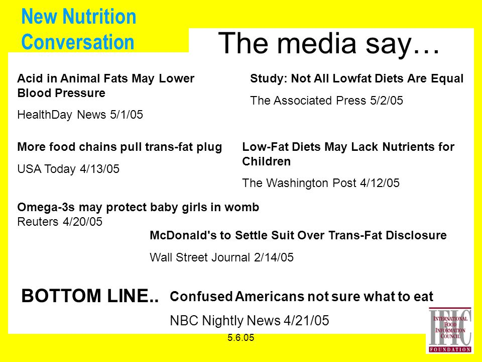 5.6.05 New Nutrition Conversation The media say… Acid in Animal Fats May Lower Blood Pressure HealthDay News 5/1/05 Study: Not All Lowfat Diets Are Equal The Associated Press 5/2/05 Confused Americans not sure what to eat NBC Nightly News 4/21/05 More food chains pull trans-fat plug USA Today 4/13/05 Low-Fat Diets May Lack Nutrients for Children The Washington Post 4/12/05 Omega-3s may protect baby girls in womb Reuters 4/20/05 McDonald s to Settle Suit Over Trans-Fat Disclosure Wall Street Journal 2/14/05 BOTTOM LINE..