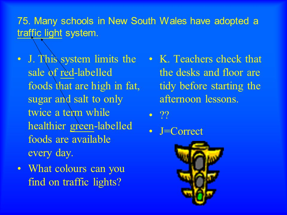 75. Many schools in New South Wales have adopted a traffic light system.