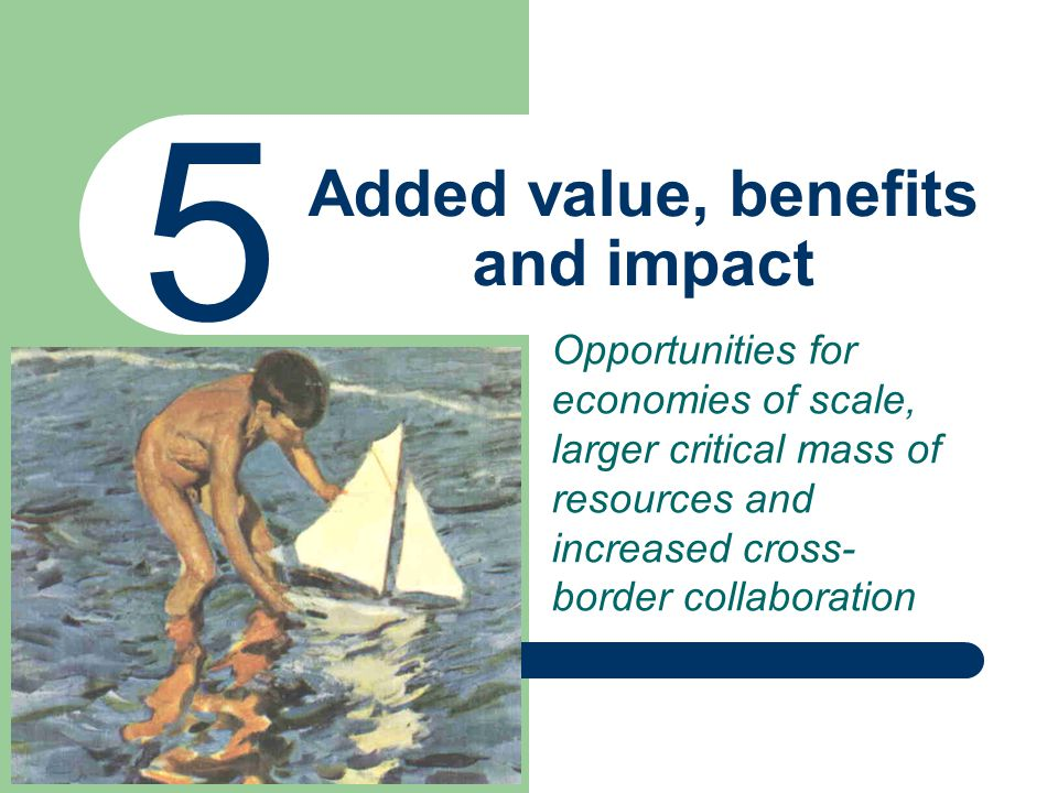 Added value, benefits and impact 5 Opportunities for economies of scale, larger critical mass of resources and increased cross- border collaboration