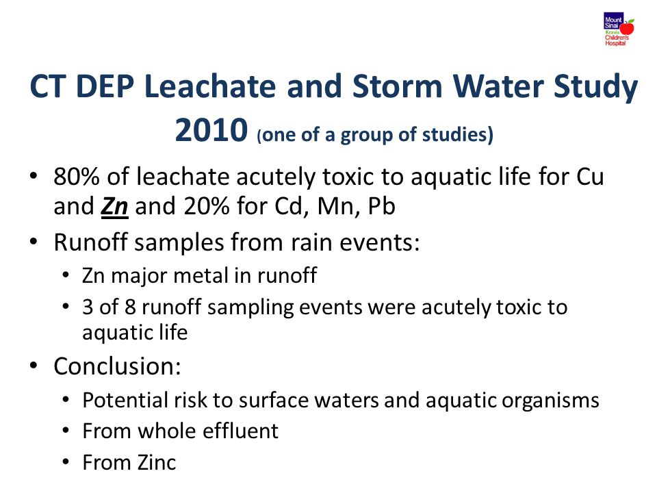 CT DEP Leachate and Storm Water Study 2010 ( one of a group of studies) 80% of leachate acutely toxic to aquatic life for Cu and Zn and 20% for Cd, Mn