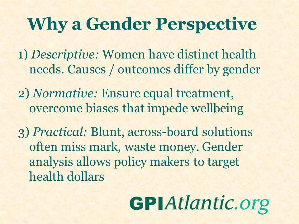 1) Descriptive: Women have distinct health needs.