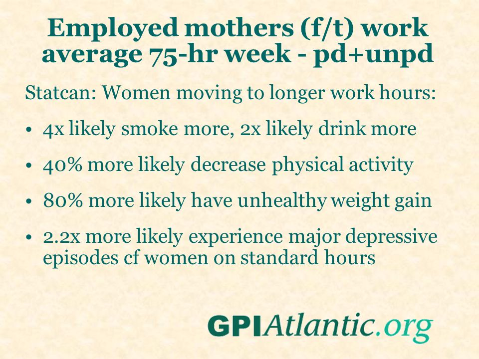Employed mothers (f/t) work average 75-hr week - pd+unpd Statcan: Women moving to longer work hours: 4x likely smoke more, 2x likely drink more 40% mo