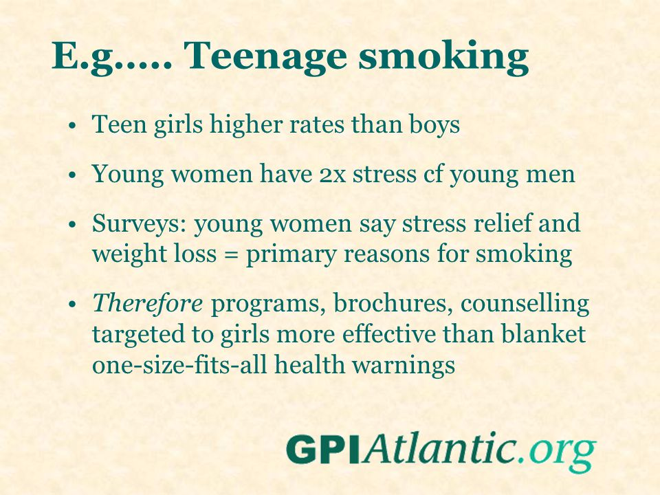 Teen girls higher rates than boys Young women have 2x stress cf young men Surveys: young women say stress relief and weight loss = primary reasons for smoking Therefore programs, brochures, counselling targeted to girls more effective than blanket one-size-fits-all health warnings E.g…..