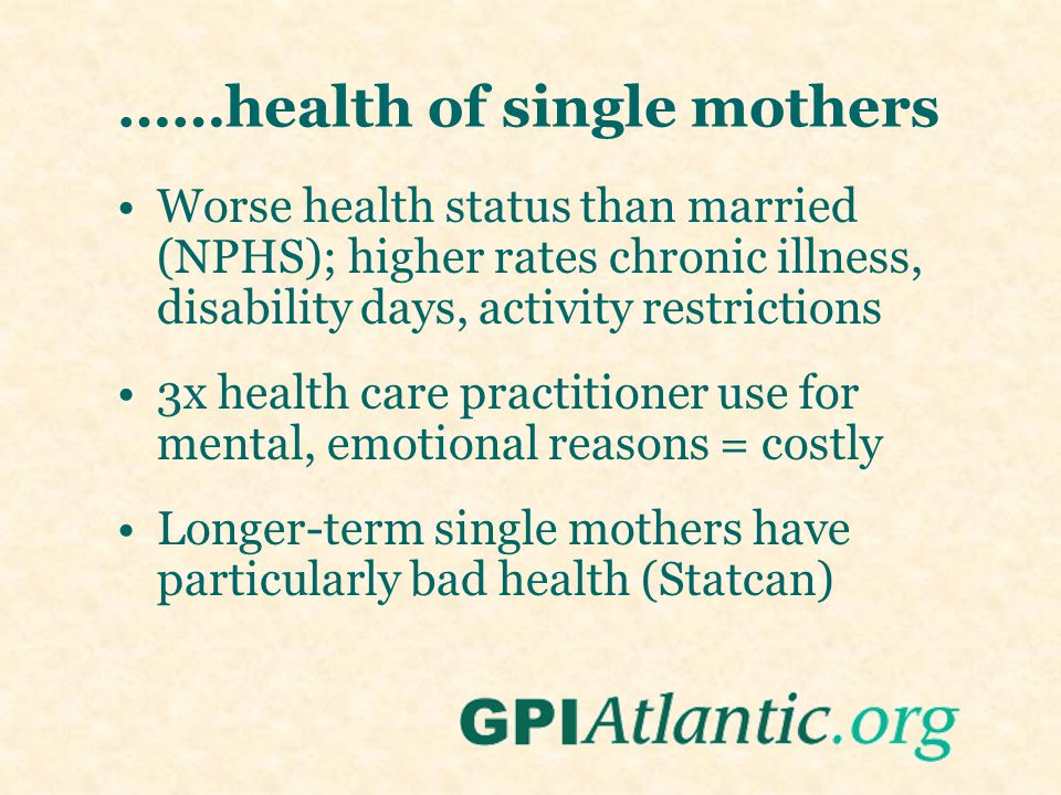 ……health of single mothers Worse health status than married (NPHS); higher rates chronic illness, disability days, activity restrictions 3x health car