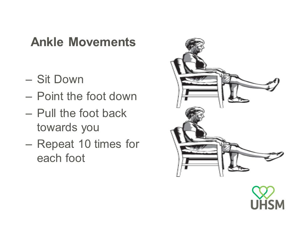 Ankle Movements –Sit Down –Point the foot down –Pull the foot back towards you –Repeat 10 times for each foot