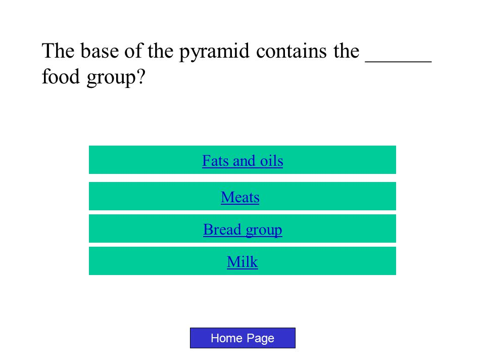 Why are there 6 spaces on the food guide pyramid? Home Page Because there are 6 food groups Because there are 6 people in the room Because six sounds
