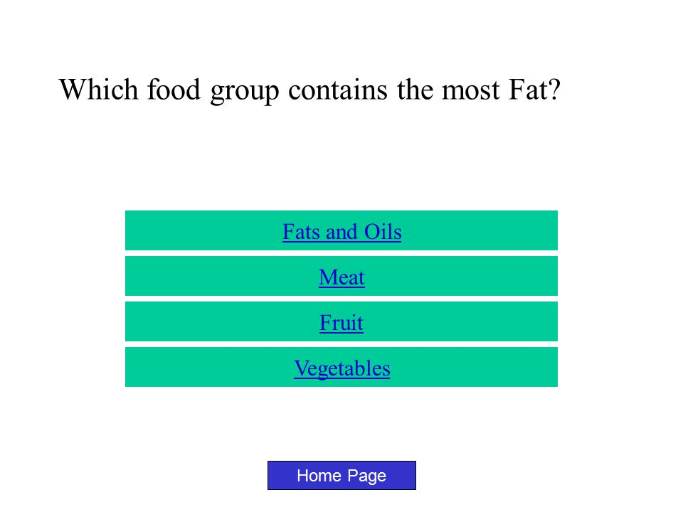 Which food group contains the most Calcium? Home Page Milk Vegetables Fruit meat