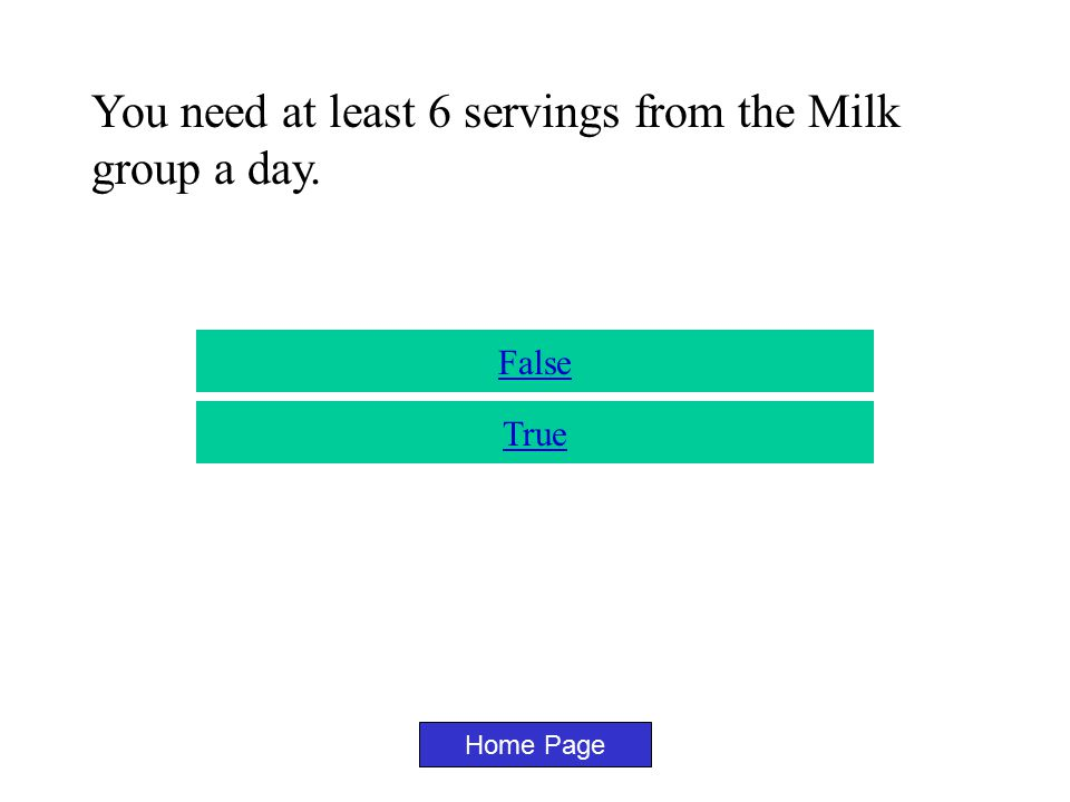 You need at least 6 servings from the bread group a day. Home Page True False
