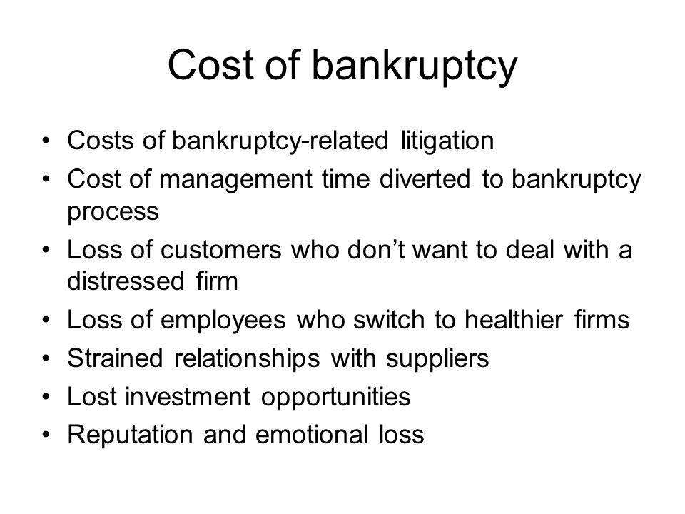 More concerns for bankruptcy cost When the firm's product requires that the firm stay in business (e.g., when warranties or service are important) When the firm must make additional investments in product quality to maintain customers