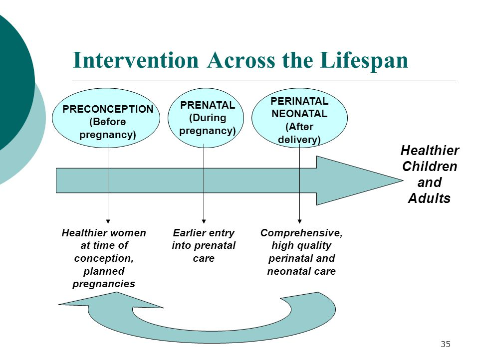 35 Intervention Across the Lifespan PRECONCEPTION (Before pregnancy) Healthier women at time of conception, planned pregnancies Earlier entry into pre