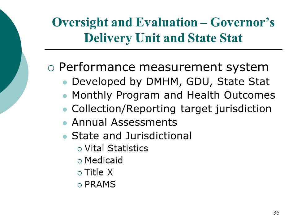 36 Oversight and Evaluation – Governor's Delivery Unit and State Stat  Performance measurement system Developed by DMHM, GDU, State Stat Monthly Prog