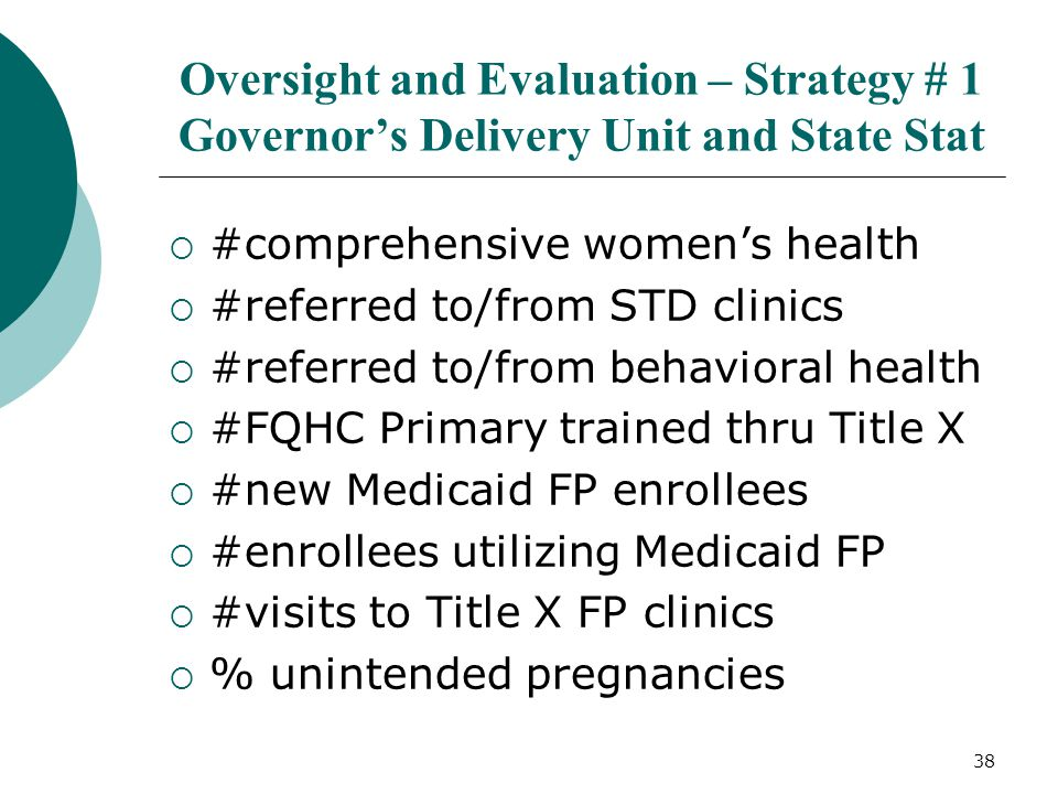 38 Oversight and Evaluation – Strategy # 1 Governor's Delivery Unit and State Stat  #comprehensive women's health  #referred to/from STD clinics  #