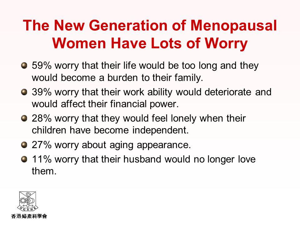 香港婦產科學會 The New Generation of Menopausal Women Have Lots of Worry 59% worry that their life would be too long and they would become a burden to their family.
