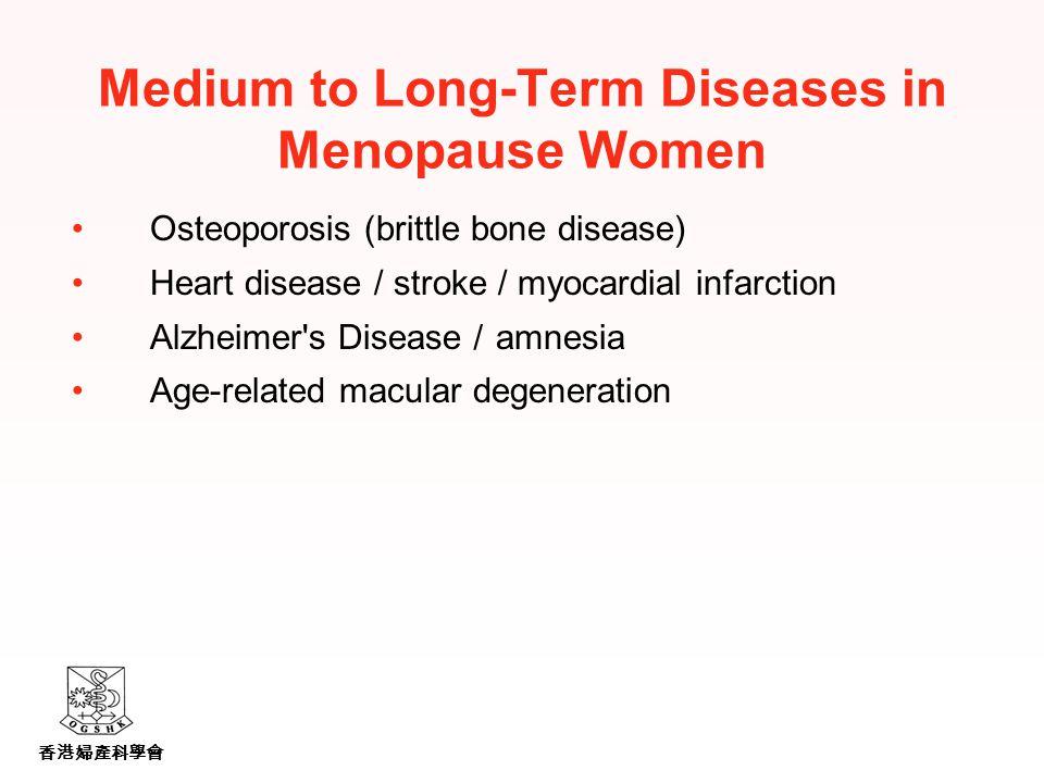 香港婦產科學會 Medium to Long-Term Diseases in Menopause Women Osteoporosis (brittle bone disease) Heart disease / stroke / myocardial infarction Alzheimer s Disease / amnesia Age-related macular degeneration