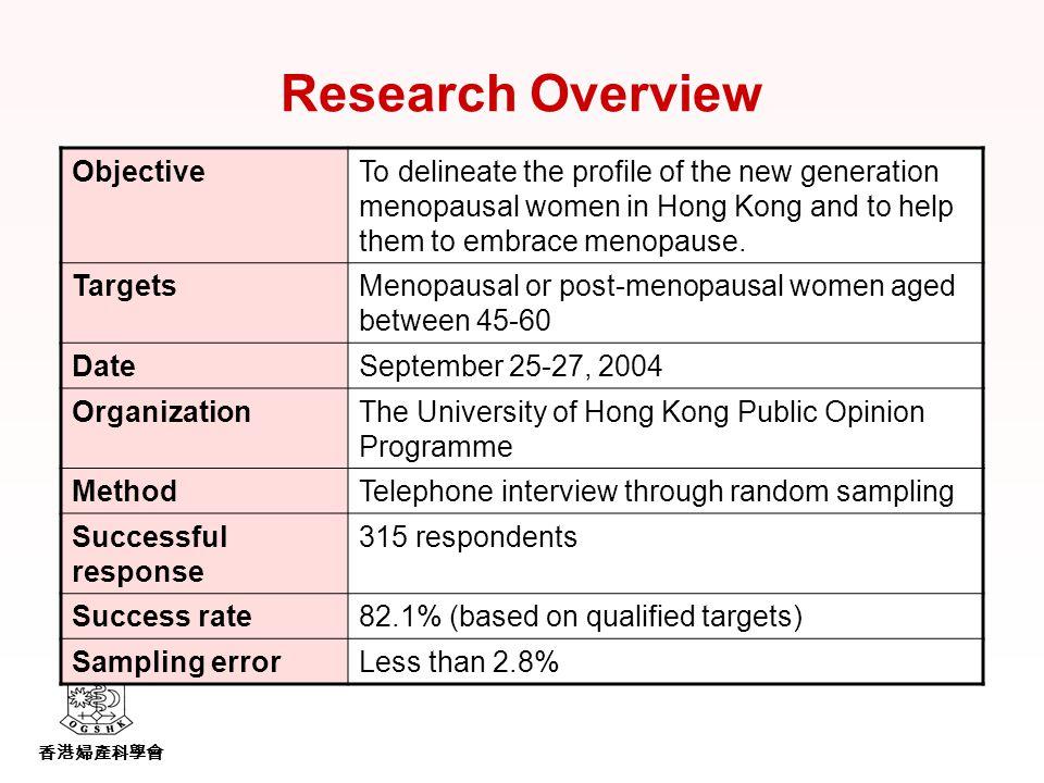香港婦產科學會 Research Overview ObjectiveTo delineate the profile of the new generation menopausal women in Hong Kong and to help them to embrace menopause.