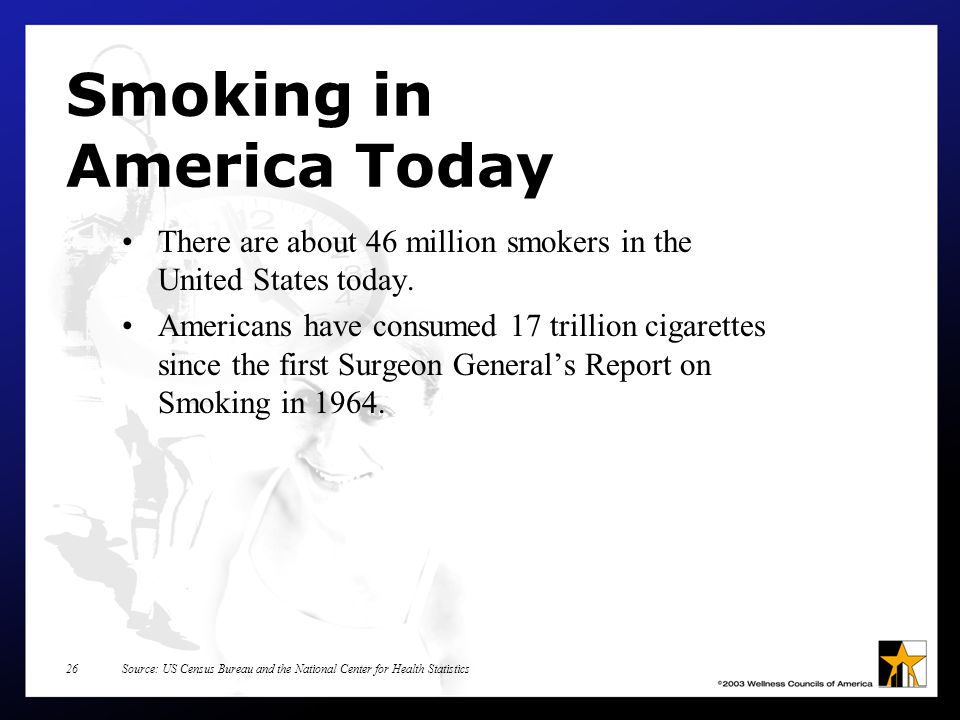 Source: US Census Bureau and the National Center for Health Statistics26 Smoking in America Today There are about 46 million smokers in the United States today.